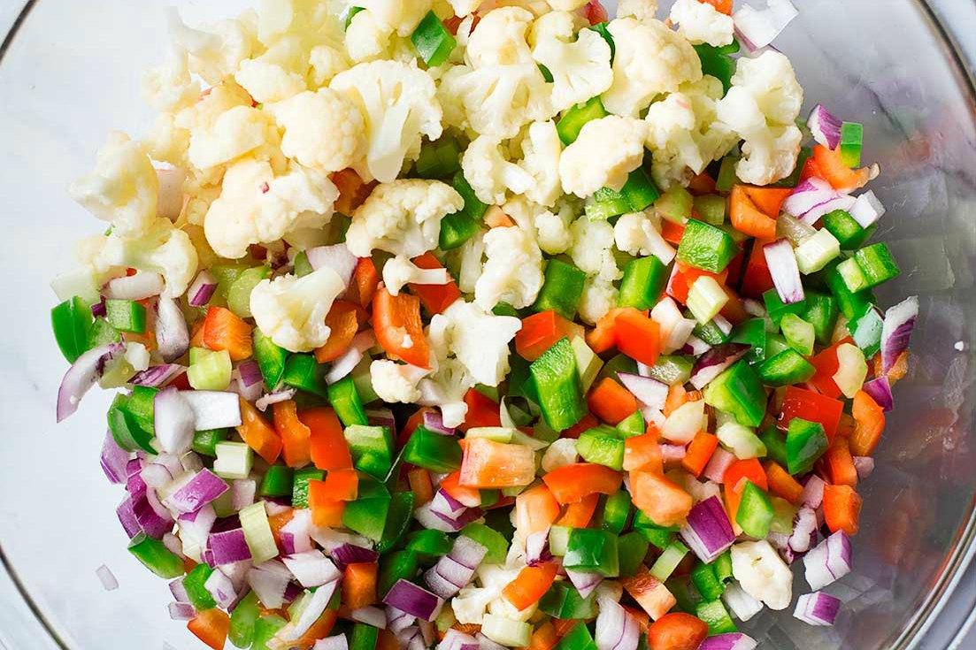 Chopped ingredients of cauliflower salad