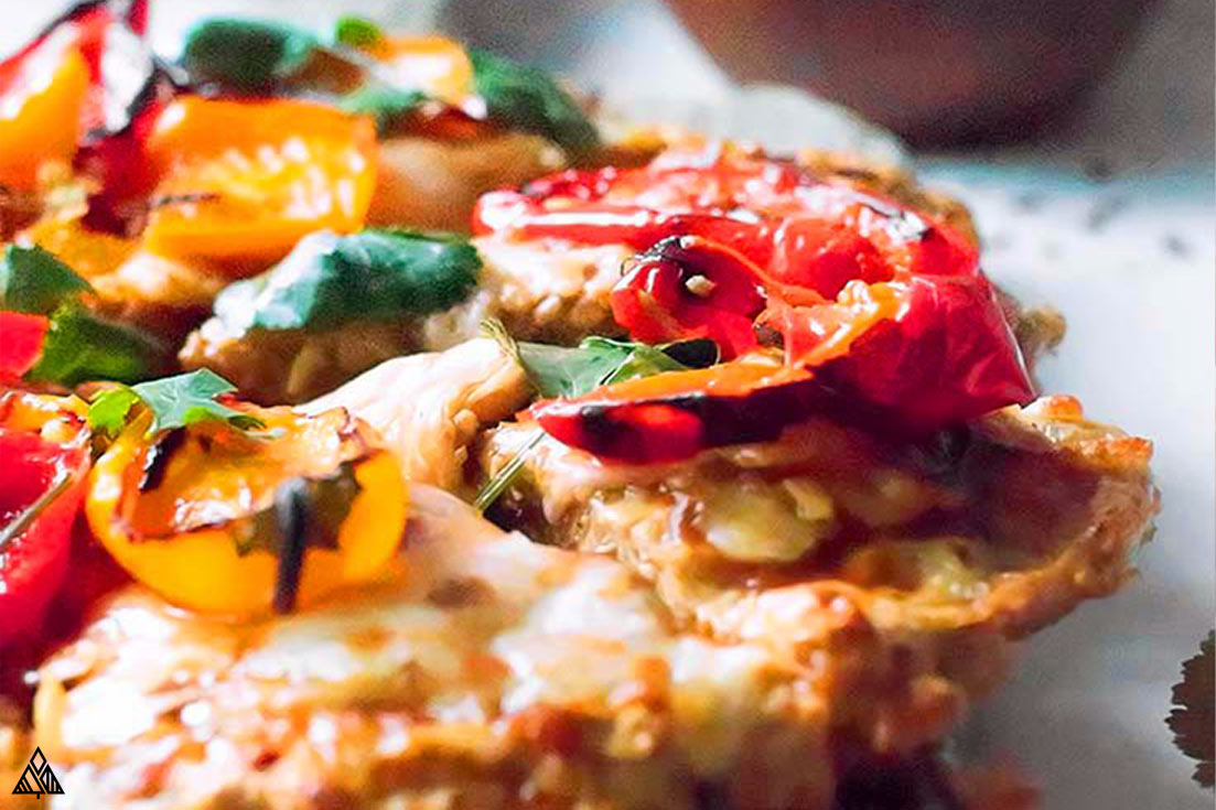 chicken crust pizza with red pepper flakes
