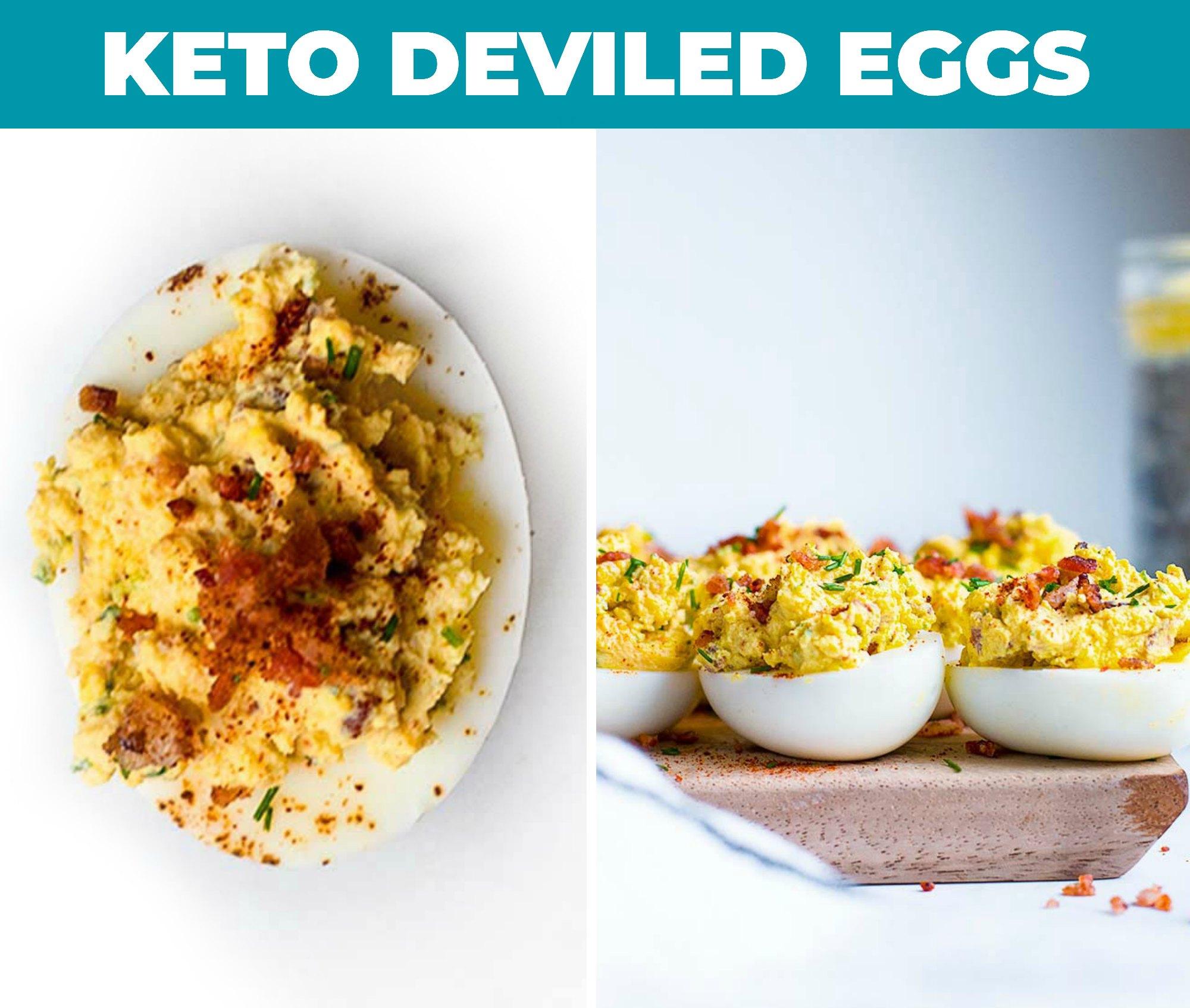 Keto deviled eggs on a cutting board