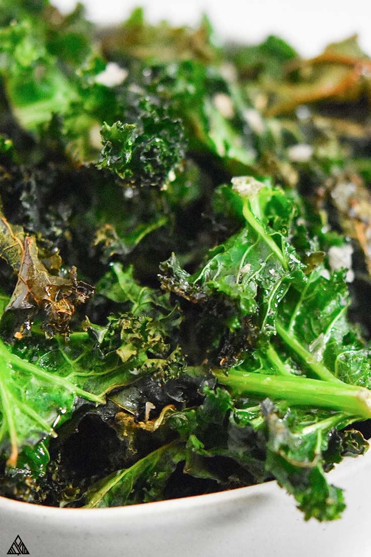 Close look of kale chips