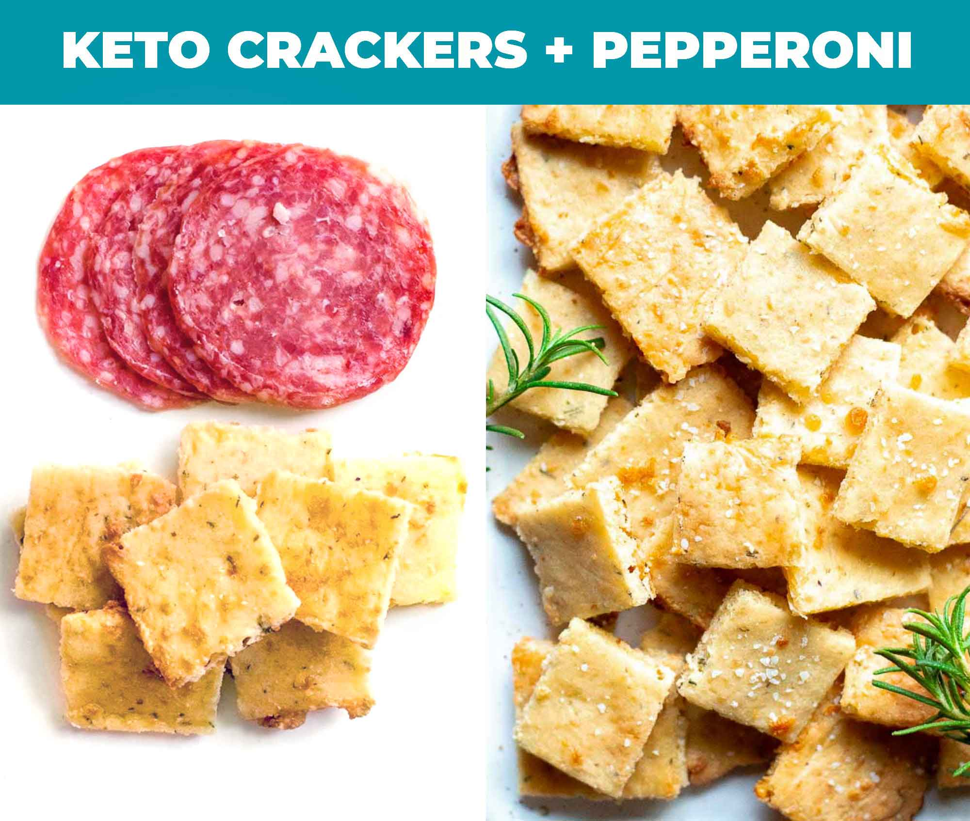 Images of keto crackers with pepperoni