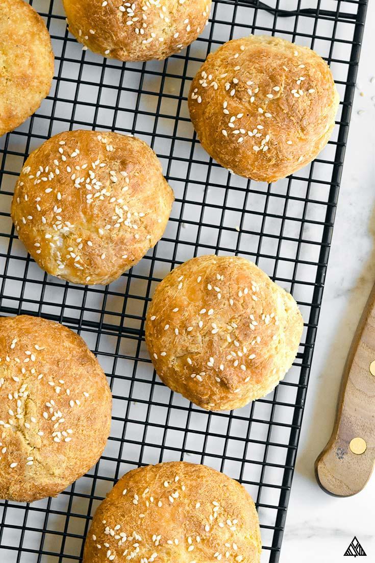 keto hamburger buns on a baking sheet