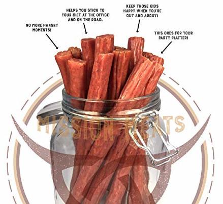 carb free snacks, mission meats turkey jerky sticks