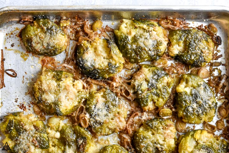 Closer look of smashed brussel sprouts