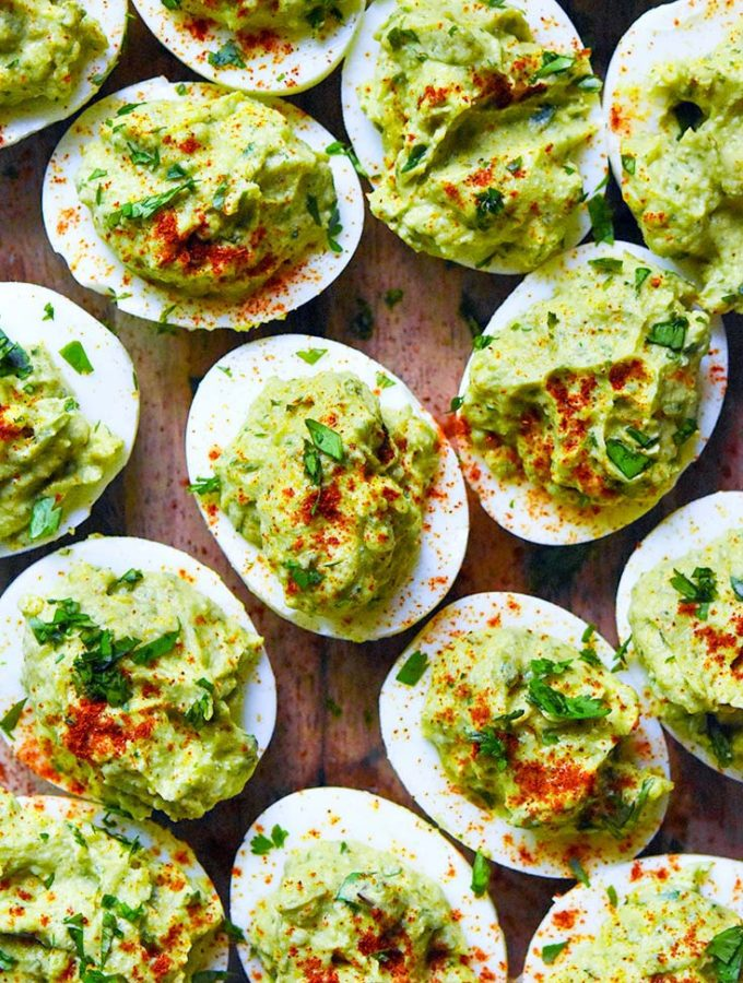 Amazingly Creamy Avocado Deviled Eggs (Paleo, Keto + Low Carb!)