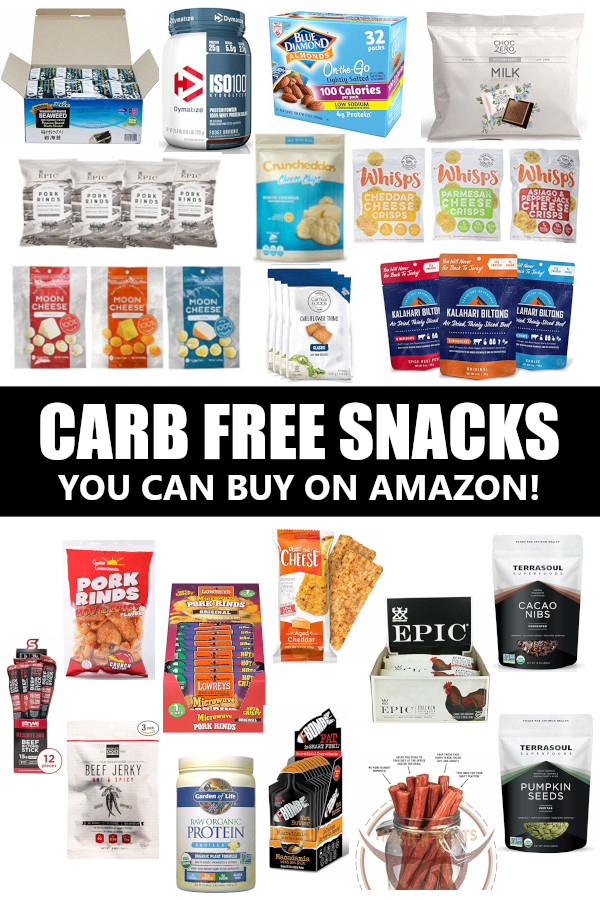 Info graphic of carb free snacks