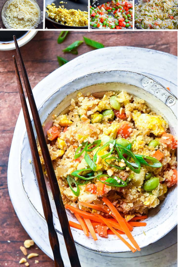 Tag a friend who eats low carbs and loves fried rice! They're going to love this one! #cauliflowerfriedrice #lowcarbcauliflowerfriedrice