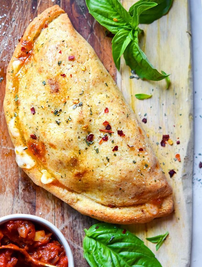 Best Ever Keto Calzone!! Sausage, Onions + Cheese!