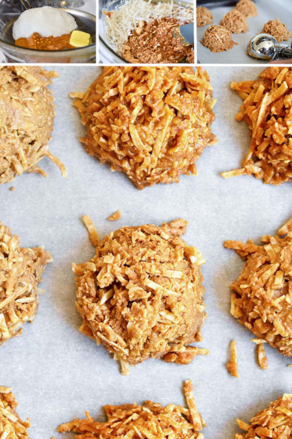 Coconut and peanut butter keto no bake cookies are the low carb desserts you've been searching for! Comes together in 5 minutes, and incredibly delicous. #lowcarbnobakecookies #ketonobakecookies
