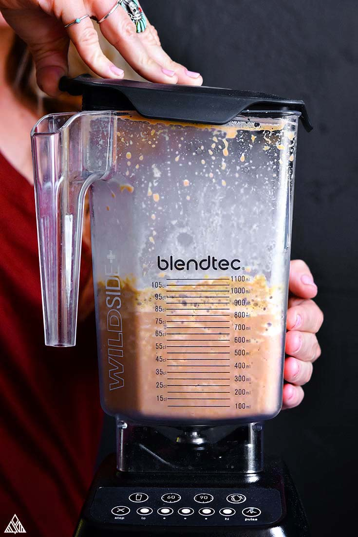 Ingredients for low carb protein shake in a food processor