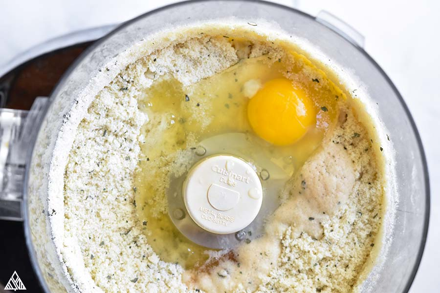 eggs and flour in a food processor