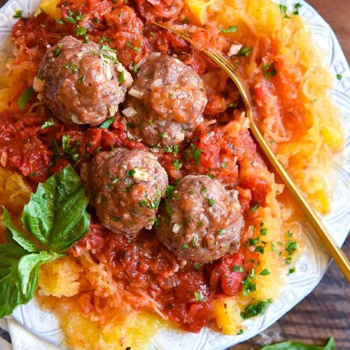 Top view of paleo meatballs in a plate