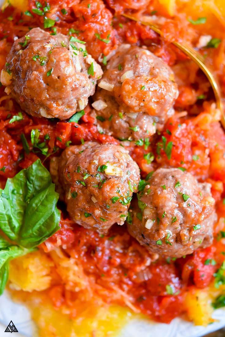 Closer look of paleo meatballs