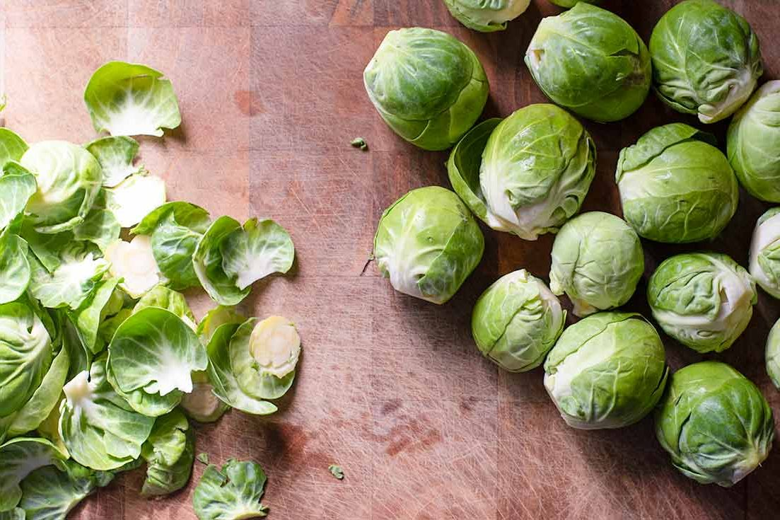 Peeling the outer leaves of the brussel sprouts