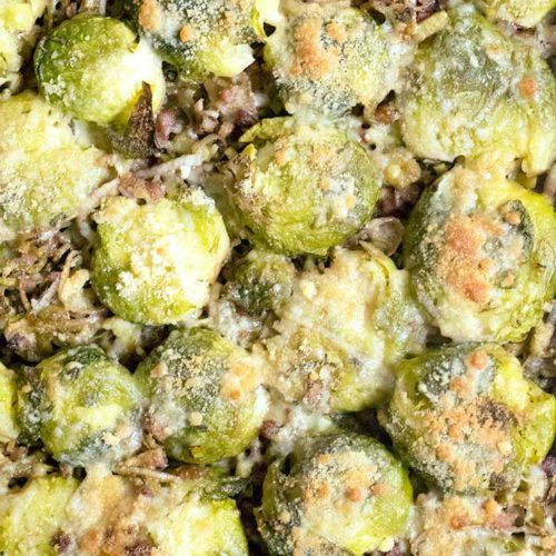 Top view of smashed brussel sprout