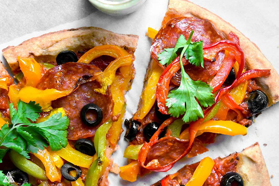 almond flour pizza crust with toppings
