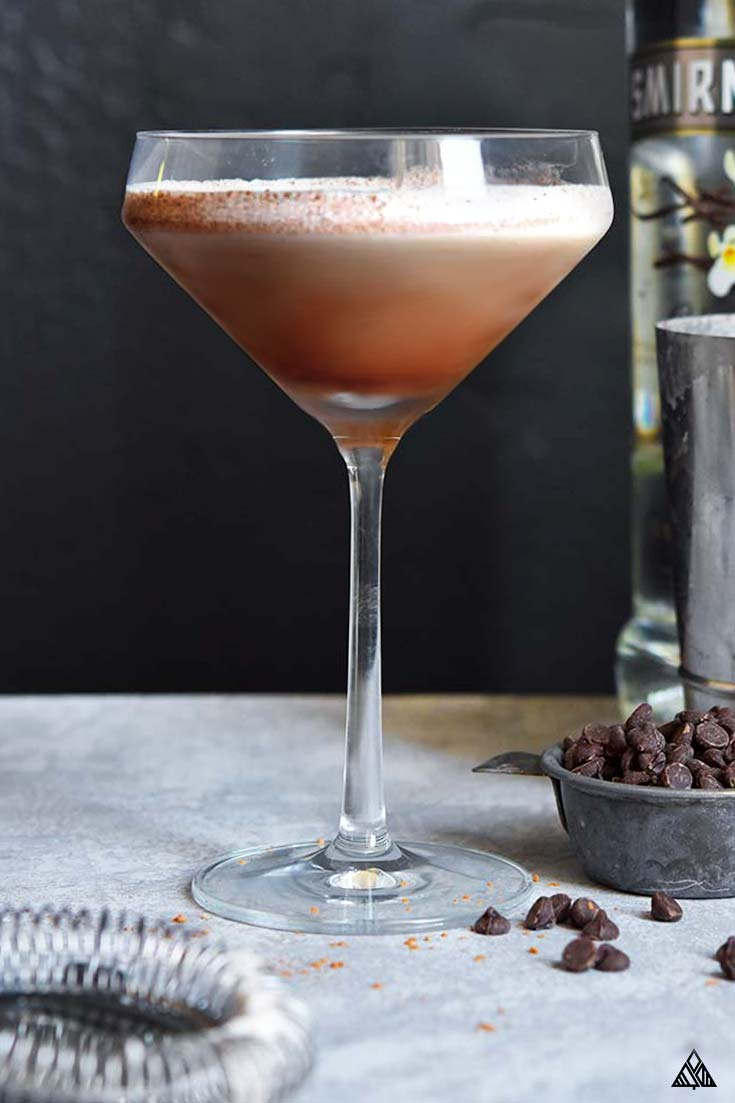 Side view of chocolate low carb martini in a wine glass