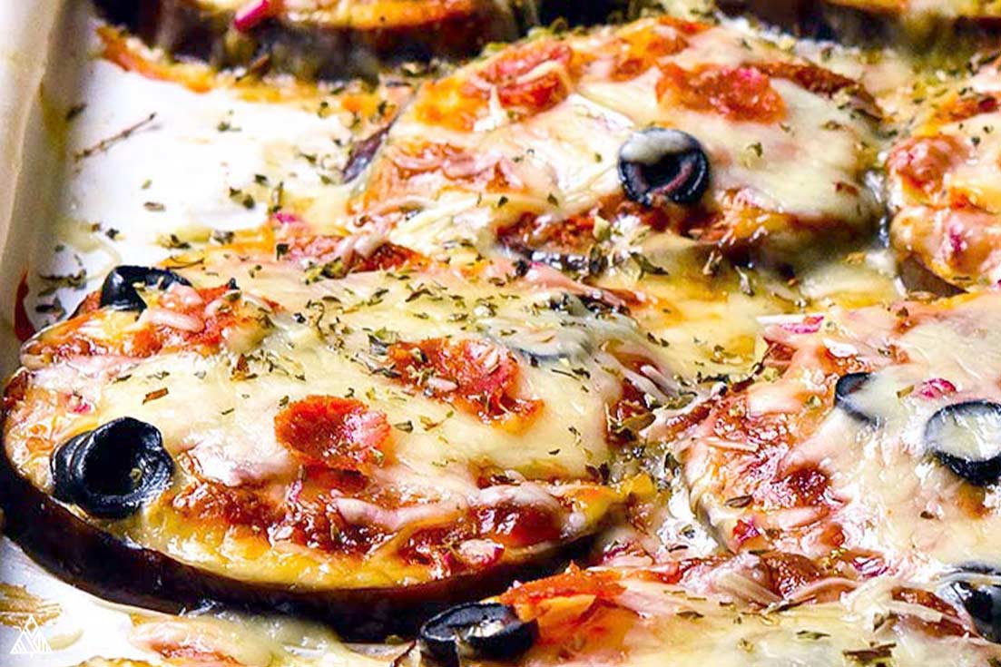 Eggplant Pizza with olives