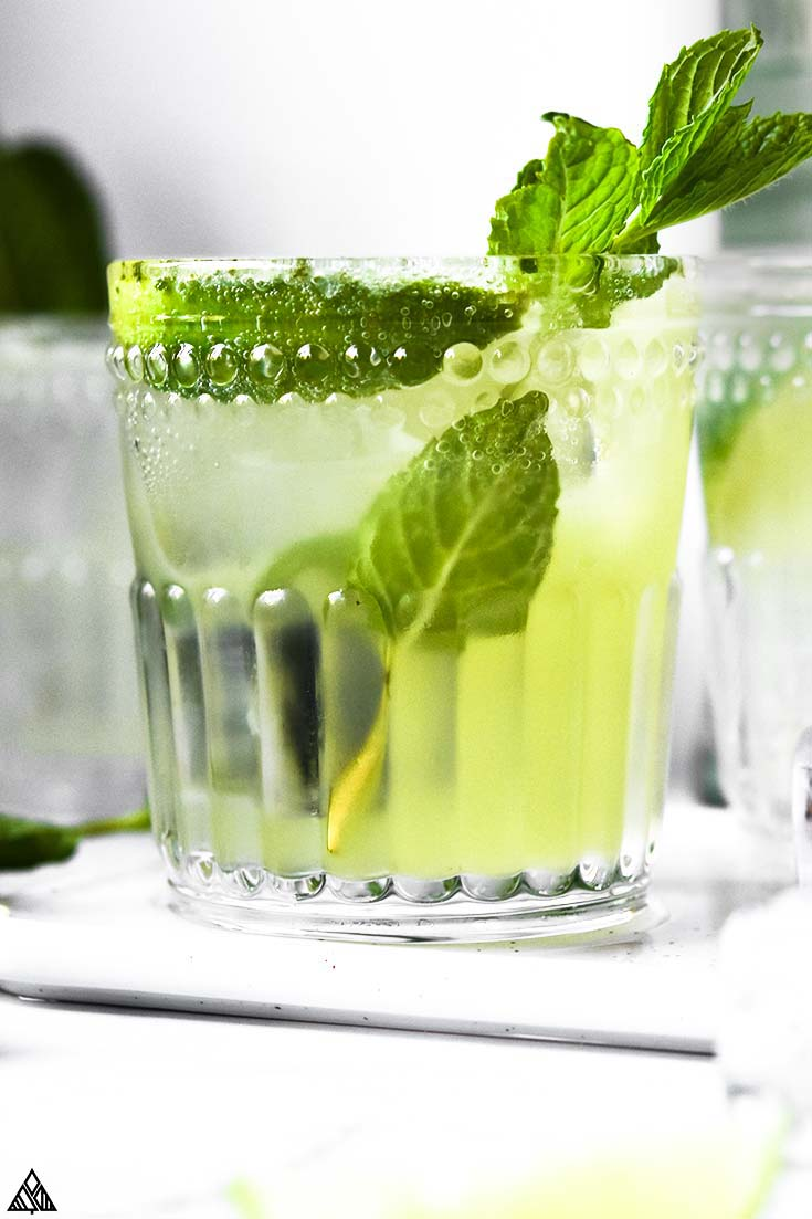 Closer look of keto mojito in a glass garnished with mint leaves