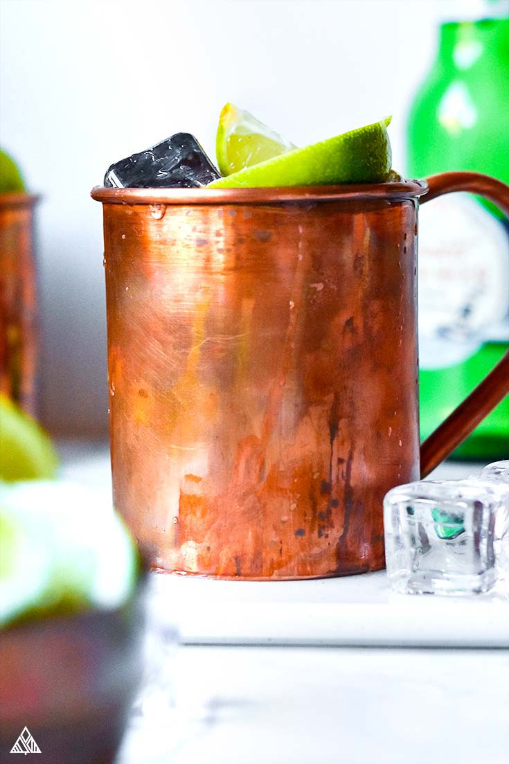 Closer look of a cup of keto moscow mule