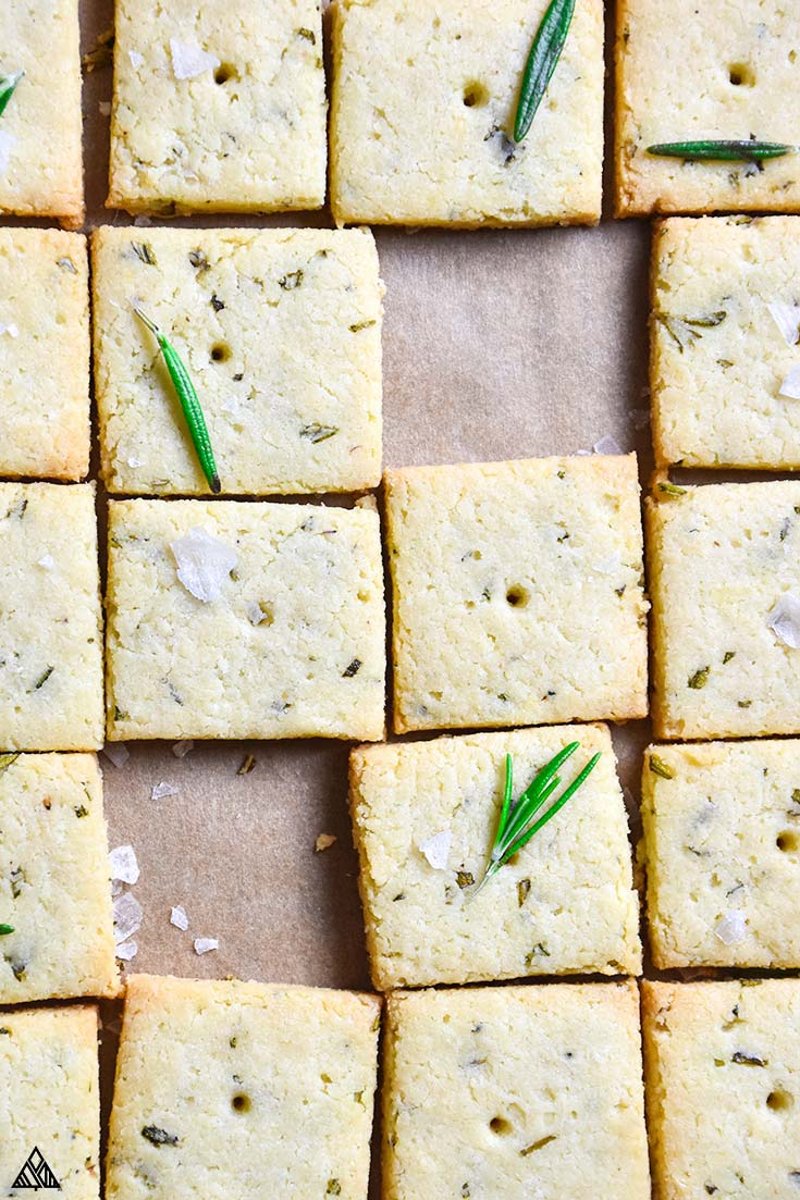 Top view of the low carb crackers with empty spaces for two missing crackers