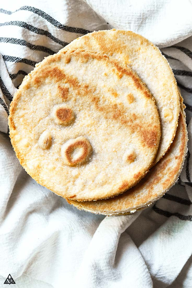 Top view of low carb tortillas