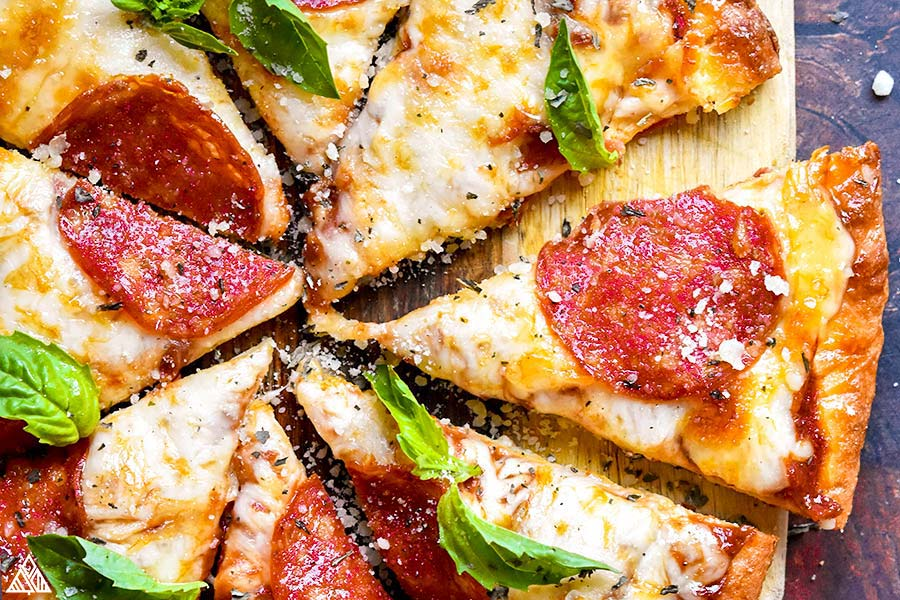 Closer look of fathead pizza