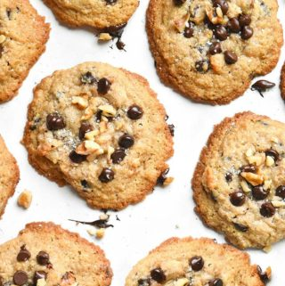 Pieces of low carb chocolate chip cookies
