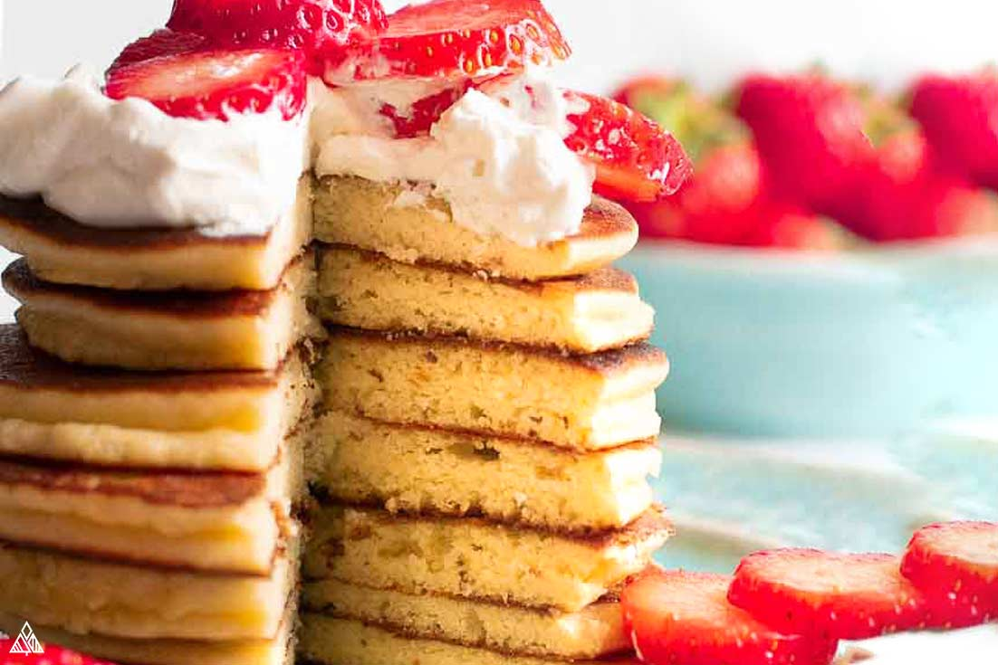 Sliced stack of almond flour pancakes