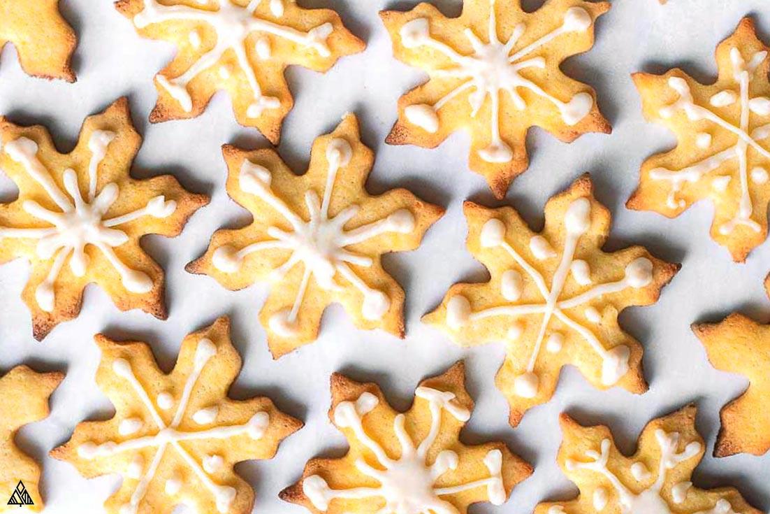 Almond flour sugar cookies in a white sugar