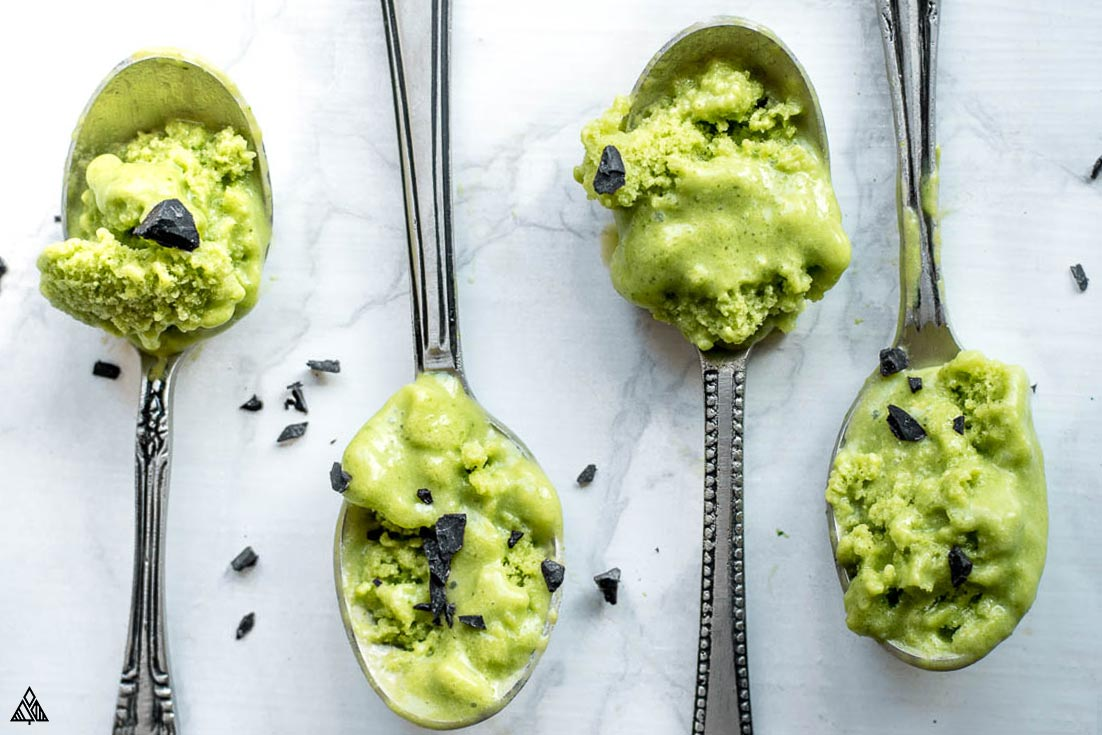 4 spoonful of avocado ice cream