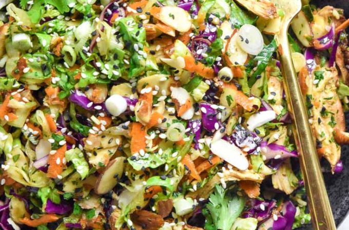 Top view of chinese chicken salad
