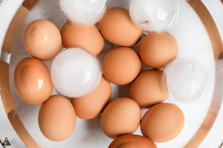 Whole eggs with water and ice