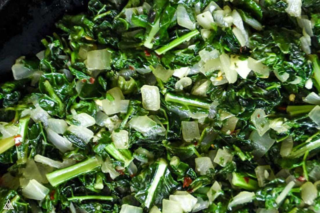 Chopped veggies for crustless spinach quiche