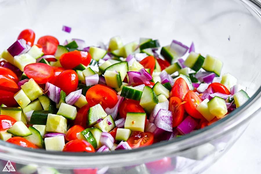 Veggies for greek chicken salad