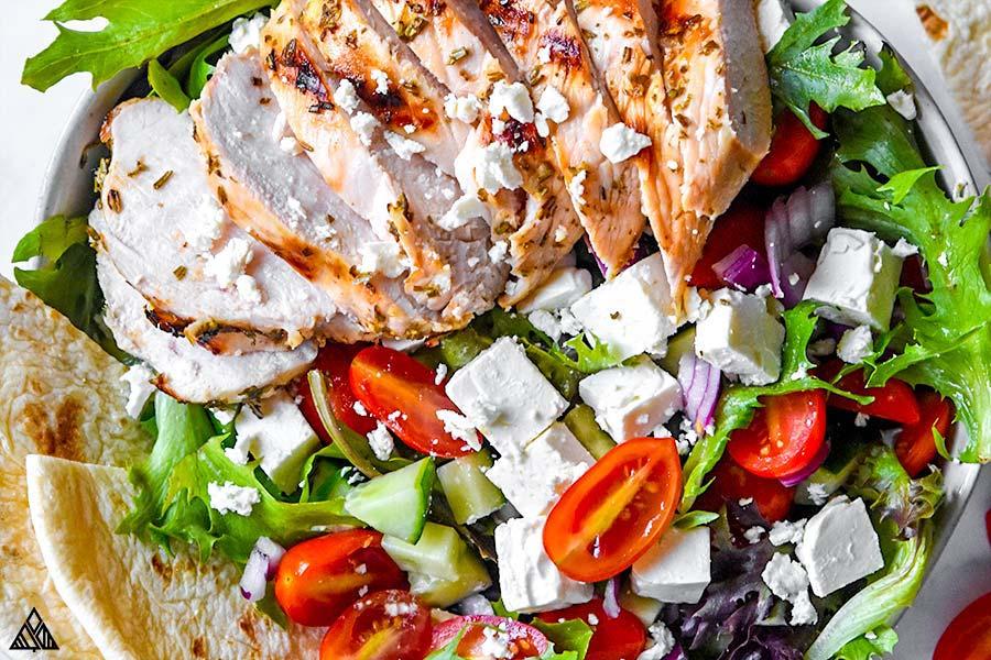 Closer look of greek chicken salad