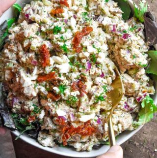 Top view of greek yogurt chicken salad with hand holding a spoon