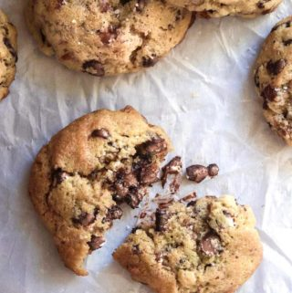 Low carb chocolate chip cookies in a parchment paper