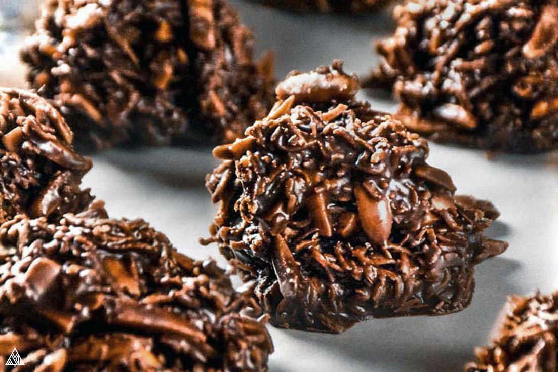 Closer look of low carb no bake cookies