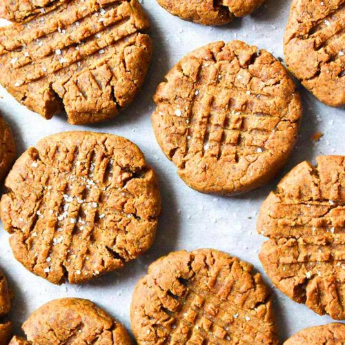 Top view of low carb peanut butter cookies