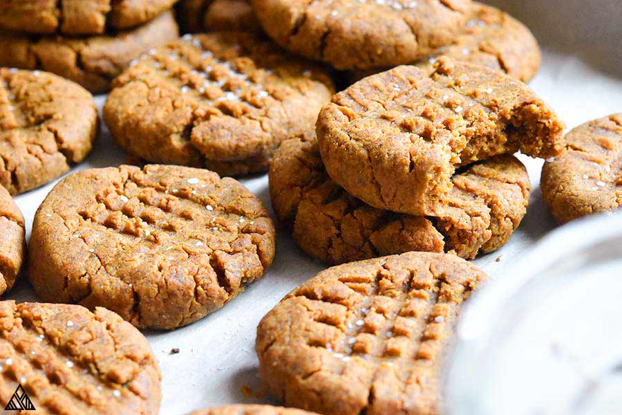 Side view of low carb peanut butter cookies