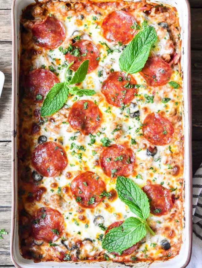 Low Carb Pizza Casserole (20 Min Prep!)