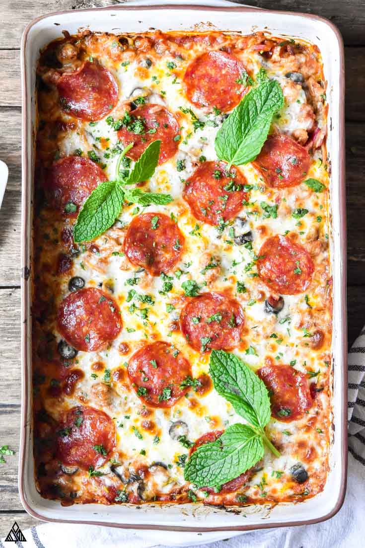 Top view of low carb pizza casserole