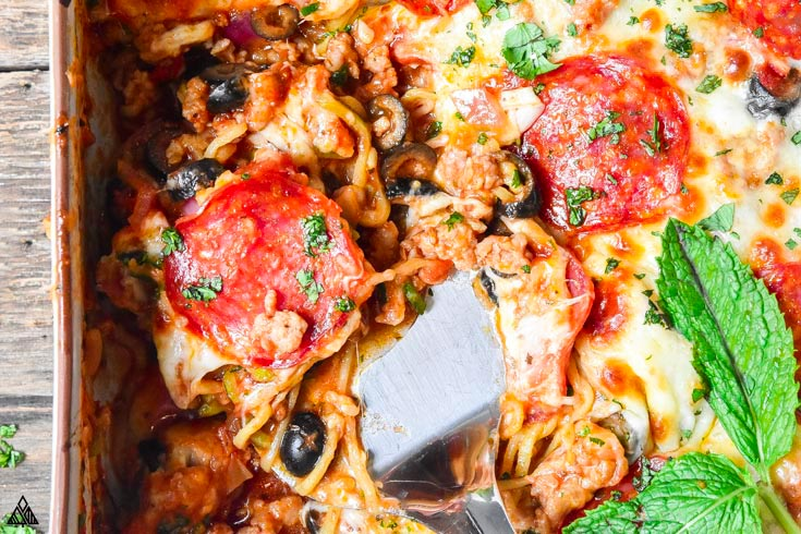 Closer look of low carb pizza casserole in a casserole dish