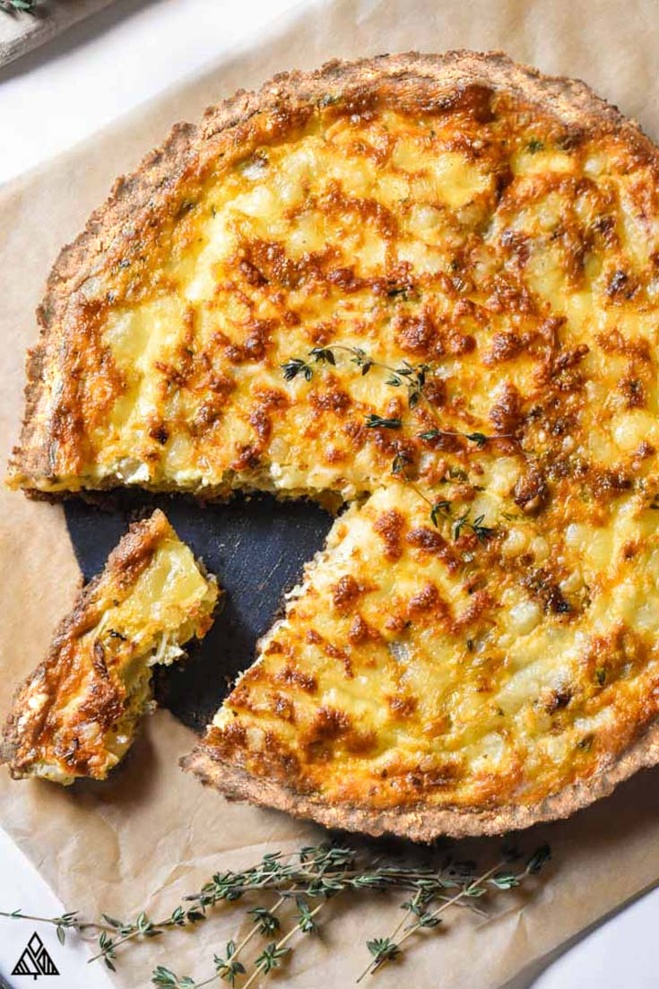 Top view of low carb quiche
