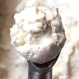 A scoop of low carb vanilla ice cream
