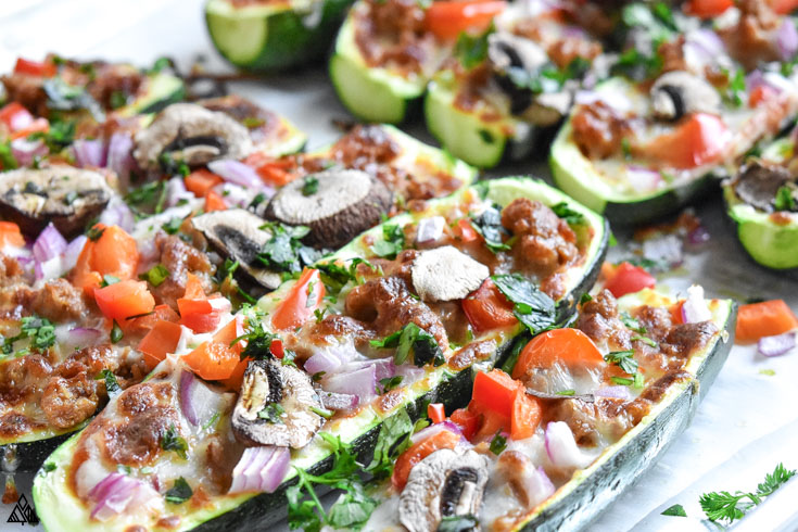 Closer look of zucchini pizza