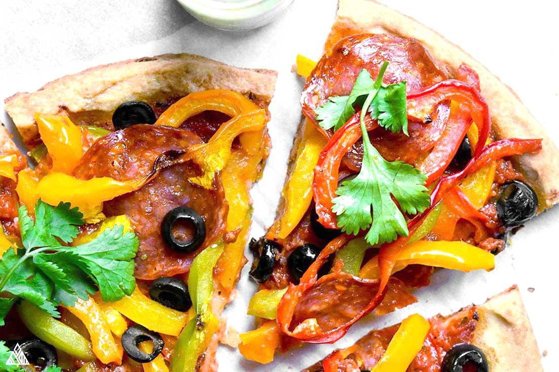 Sliced almond flour pizza crust