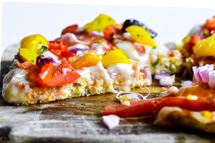 Side view of cauliflower pizza