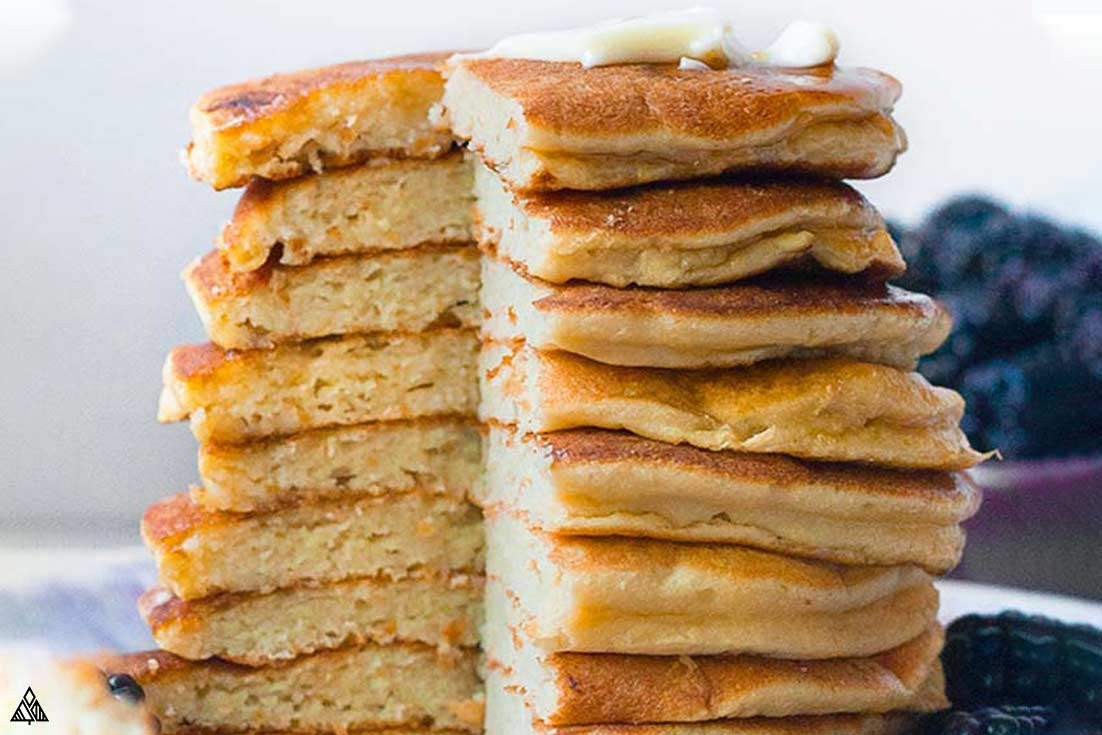 Sliced layer of coconut flour pancakes